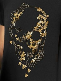ALEXANDER MCQUEEN - EMBROIDERED SKULL PRINTED JERSEY T-SHIRT - LUISAVIAROMA - LUXURY SHOPPING WORLDWIDE SHIPPING - FLORENCE Tambour Embroidery, Couture Embroidery, Beaded Embroidery, Embroidery Stitches, Embroidery Patterns, Hand Embroidery, Tambour Beading, Embroidery On Clothes, Embroidered Clothes