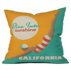 DENY Designs pillow showcasing a retro travel motif by Anderson Design Group.   Product: PillowConstruction Material:...