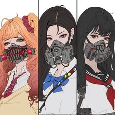 Cyberpunk Schoolgirls Shiina(Red) Han(Blue) Sakai(Scarlett) What girl do you like? Cyberpunk Kunst, Cyberpunk Anime, Cyberpunk 2020, Character Concept, Character Art, Concept Art, Manga Drawing, Manga Art, Anime Mascaras
