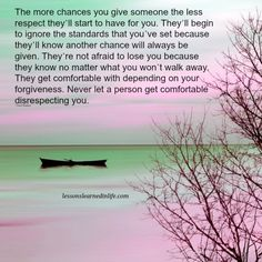 Lessons Learned in Life | Never let a person get comfortable disrespecting you.