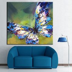 Hot Hand Painted Animal Picture On Canvas Butterfly Oil Painting For Living Room Wall Decor Abstract