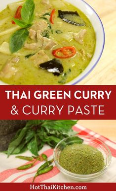 Green Curry Chicken แกงเขียวหวาน (gaeng keow waan) Recipe & video for a truly authentic Thai green curry plus how to make green curry paste from scratch for those who love to DIY! Enjoy this truly classic Thai dish! Authentic Thai Green Curry, Thai Green Chicken Curry, Thai Green Curry Recipes, Thai Green Curry Paste, Green Curry Sauce, Thai Kitchen Green Curry Paste Recipe, Easy Thai Green Curry, Green Thai, Thai Street Food