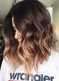 Ombre blonde hair color for brunettes with short hair #hairstyles #ombrehair #haircolor