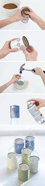 Make can lanterns using a hammer and masonry nails. Place the can onto a sand bag to easier punch the holes of the design into the can. Freeze the can before hand by filling it with sand and water so the can doesn't bend or break when using the hammer. You can also attach a handle from a metal coat hanger!