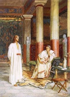 """Jesus Being Interviewed Privately By Pontius Pilate"" by William Brassey Hole (1846-1917, United Kingdom)"