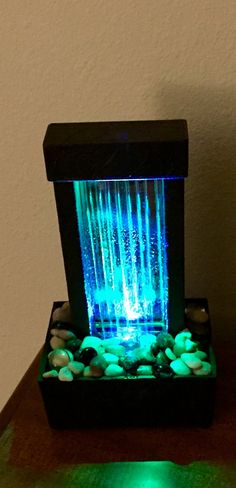 Indoor Lighted Water Fountains Come see us at httpswaterfeaturesupplywaterwalls amazon color changing waterfall indoor home decor led lighted glass water workwithnaturefo