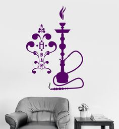 Vinyl Wall Decal Hookah Bar Shisha Arabic Decor Smoking Smoke Stickers (ig3367)