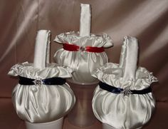 3 FLOWER GIRL BASKETS  SNOWFLAKE TRIM   Custom Made in your choice of colors  These items are available in my Ebay store  gidesigns you can request your choice of ribbon and satin colors. You can add additional items to this listing. Check out all the unique items in my store and let me make you something gorgeous and unique for your special day