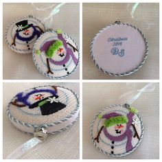 Needlepoint ornaments for Christmas gifts! Diana Sagmore, designer unknown