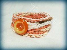 Crocheted wrap bracelet cotton 4x wrap orange by TwiceStitched