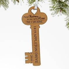 LOVE this Personalized Wood Key Ornament! It's the perfect Christmas gift idea for a family or newlyweds who are celebrating their first Christmas in their new home! Love that it's a rustic wood ornament and you can have it engraved with any name address and year!
