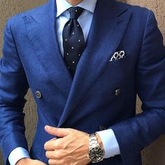 Nice combination of different shades of blue | Men's Fashion | Menswear | Men's Outfit Idea for Spring/Summer | Moda Masculina | Shop at DesignerClothingFans.com
