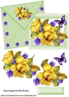 PRETTY YELLOW ROSES AND FLOWERS ON CARD AND ENVELOPE on Craftsuprint - Add To Basket!