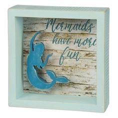 Mermaid Box Art Sign $9.99 www.mermaidhomedecor.com - Mermaid NEW