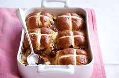 A gorgeous, and rather indulgent, recipe for Hot cross bun bread and butter pudding, from Tesco Real Food. The perfect dessert for an Easter Sunday roast dinner... Yum!
