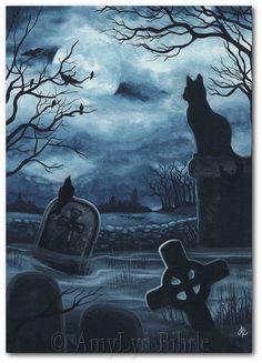 Black Cat Society  Watchful Eye Cemetery Raven  by AmyLynBihrle, $8.99