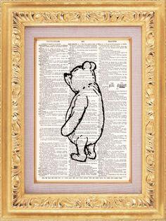 Pooh Recycled Art. $8.98, via Etsy.
