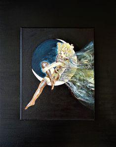 """FRAU IM MOND"", Acryl auf Leinen, 40 x 50 cm, www.gitta-landgraf.at Landgraf, Moose Art, Fantasy, Painting, Animals, Linen Fabric, Animales, Animaux, Painting Art"