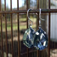 Large Clear Glass Tear Drop Dangle Earrings by SalvagedJewelry, $18.00