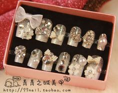 New 2013 Beautiful Bride 3d Diamond Glitter wedding false nails,Christmas gift,free shipping $11.29