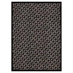 "Nourison Geometric Ladder Ultima Area Rug - Ivory/Black (7'9""X10'10"")"