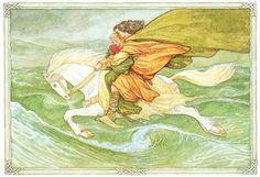 PJ Lynch, Oisin, son of Finn Mac Cumhaill, riding off across the waves to Tir na n'Og, with Niamh of the Golden Hair.