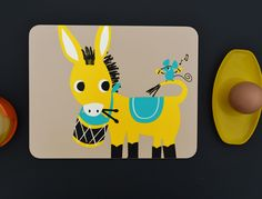 'Drumming Donkey' Melamine Placemat  by Ketchup on Everything.co.uk