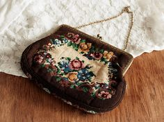Vintage Brown Cream Needlepoint Purse