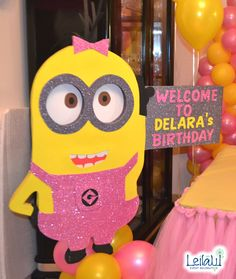 Minion Character for Minions   Girl Themed Birthday Party Decorations by Leila Events (04252). For orders or further info call or whatsapp +201222220889