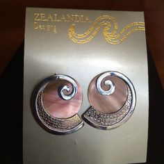 Zealandia Designs Sterling And Shell Earrings.