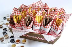 """Cookies and french fries.we can't think of a better combination as a delicious treat for a Bar Bat Mitzvah celebration and neither can The Cookie Joint, creators of """"cookie fries. Chocolate Morsels, Chocolate Toffee, Mint Chocolate, Barbecue, Catering, Chocolate Shortbread Cookies, Buffet, Cinnamon Spice, Delicious Chocolate"""
