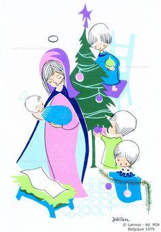 Madone tenant dans ses bras l'Enfant Jésus, trois enfants décorent le sapin de Noël - 1979 (from http://mercipourlacarte.com/picture?/1344/)