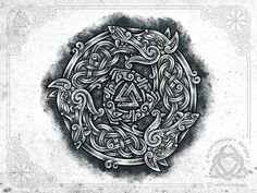 Wolf circle by Sergey Arzamastsev Viking Tattoo Sleeve, Viking Tattoo Symbol, Norse Tattoo, Viking Tattoo Design, Viking Tattoos, Sleeve Tattoos, Slavic Tattoo, Armor Tattoo, Warrior Tattoos