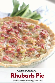Old Fashioned Rhubarb Pie has a classic custard base filled with tangy sweet rhubarb. A classic rhubarb recipe handed down from my great grandma. Rhubarb Custard Pies, Rhubarb Bars, Rhubarb Desserts, Just Desserts, Delicious Desserts, Yummy Food, Strawberry Rhubarb Pie, Fresh Rhubarb Pie Recipe, Healthy Rhubarb Recipes