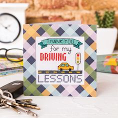 Take a ride with Cheryl McKinnon's driving gift ideas in Crazy issue Driving Gift, Cross Stitch Cards, Card Patterns, Cheryl, Notebook, Gift Ideas, Gifts, Presents, Cross Stitch Boards