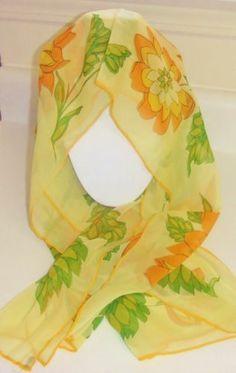 "Vintage Japan Yellow Green Orange Flower Hand Rolled Rayon Scarf 44"" Long   eBay https://www.facebook.com/AColourfulPast"
