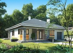 Blanka - murowana – beton komórkowy - zdjęcie 1 Small Bungalow, Bungalow Homes, Bungalow House Plans, Bungalow House Design, Small House Plans, 2 Storey House Design, Small House Design, Modern Color Schemes, Modern Colors