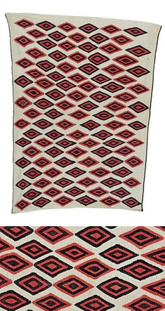Africa | An Oshogbo society cloth.  Nigeria | Cotton; woven with diamond-shaped decorations in red and black, on a white background