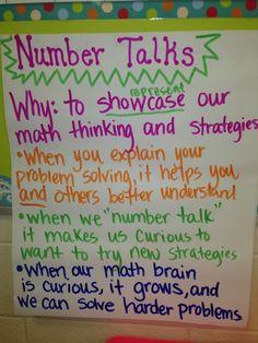Down the Hall in Third: Mathy Monday-Number Talks Teaching Numbers, Math Numbers, Teaching Math, Teaching Ideas, Student Learning, Teaching Materials, Kindergarten Math, Preschool, Math Charts