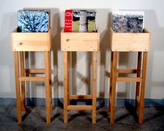 record storage idea...I like this better than the book case. Except that it could be knocked over easier.