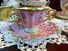 Vintage Tea Cup Teacup and Reticulated Saucer Demitasse Pearlized Iridescent Footed Made in Japan 3787