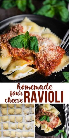 Homemade Four Cheese Ravioli is the best dinner recipe! Flavorful Italian cheeses perfectly wrapped in homemade pasta dough is pure comfort food! #ravioli #homemade #recipe #filling #cheese