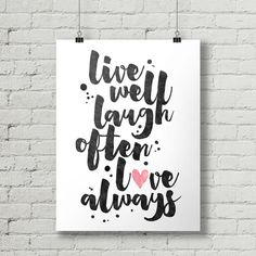 Live Laugh Love  Inspirational Quote by thetypographyshop on Etsy #inspirational #inspiration #typography #printable #poster #diy #quote #live #laugh #love