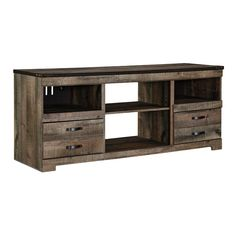 """Create the perfect set-up for family movie night with the Trinell 63"""" TV Stand from Ashley Furniture. Made from hardwood and hardwood solids, it's strong enough to hold TVs up to 65"""" in size. The brown oak finish and antique metal hardware give it a rustic look. 4 shelves. 4 drawers.Trinell 63"""" TV Stand 