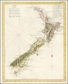 James Cook's map of New Zealand - One of the most important maps in New Zealand's history and the first complete map of the two island's coastlines. Made during Cook's first voyage it shows the track of the Endeavour with dates. The interior reflects the mountainous topography