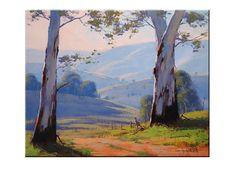 GUM TREES PAINTING Australian artwork kangaroo by GerckenGallery, $298.00