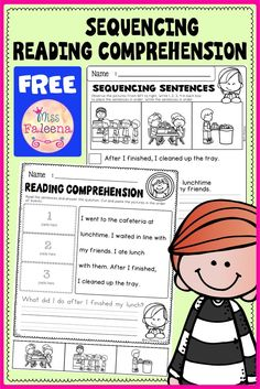 Free Sequencing Reading Comprehension contains 6 pages sequence reading worksheets. This product is suitable for kindergarten and first grade students. Kindergarten | Kindergarten Worksheets | First Grade | First Grade Worksheets | Reading Comprehension | Free Sequencing Reading Comprehension | Literacy Centers | Free Lessons First Grade Worksheets, Reading Worksheets, Kindergarten Worksheets, Reading Strategies, Reading Skills, Reading Comprehension, Fun Learning, Learning Centers, Sentence Writing