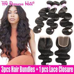 7a rambut manusia brasil gelombang tubuh perawan 3 bundel dengan penutupan rosa queen produk rambut penutupan tissage brésilienne avec paypal