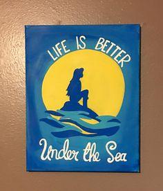 Super disney art diy canvases little mermaids Ideas Disney Canvas Paintings, Disney Canvas Art, Easy Canvas Painting, Diy Canvas, Diy Painting, Painting & Drawing, Canvas Ideas, Small Canvas, Little Mermaid Painting