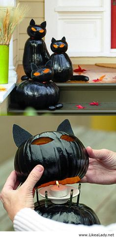 Make black cat pumpkins...this is so cute for halloween.